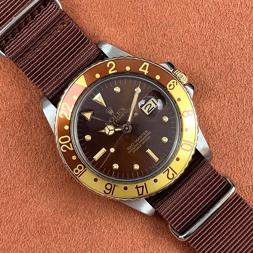 "Rolex GMT-MASTER 1675/3  Or&Acier ""Tiger Eye"" ""Nipple Dial"""