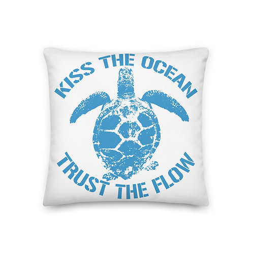 Turtle Go With The Flow Pillow Blue