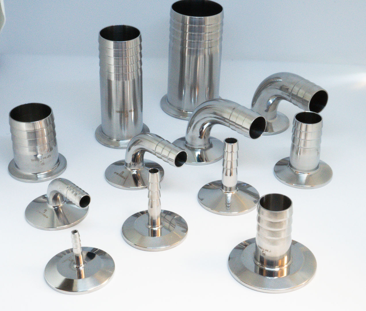 Tri-clamp to hose barb fittings
