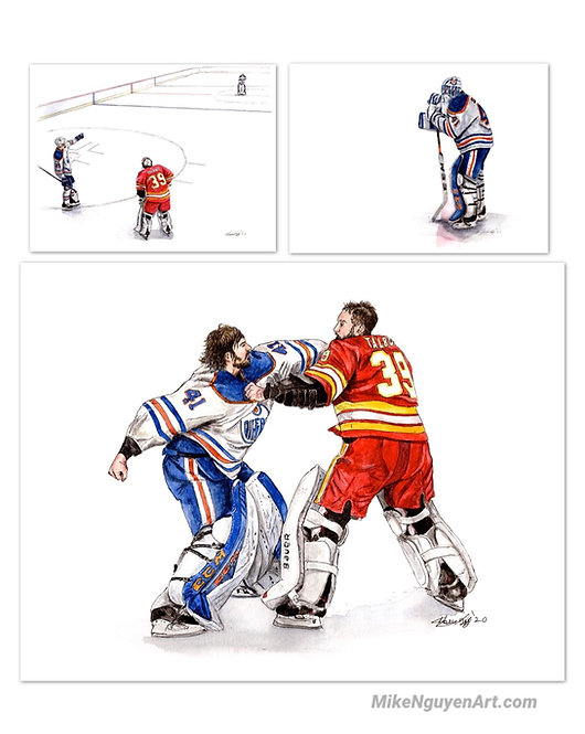 Battle of Alberta, Goalie Set - 3 Prints