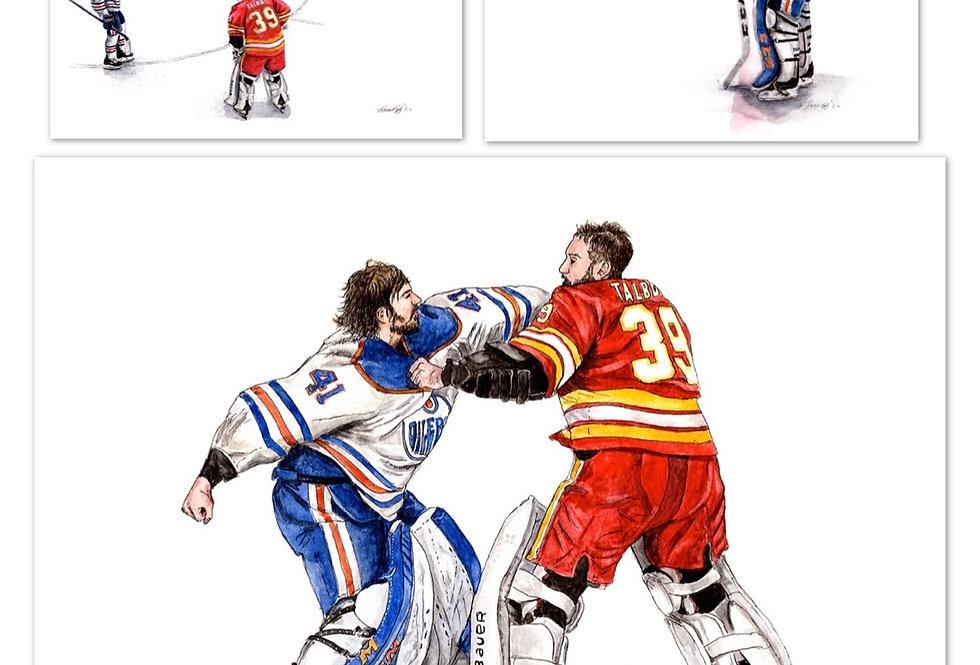 Battle of Alberta, Goalie Set - 3 Prints