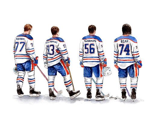Edmonton Oilers Line - Print