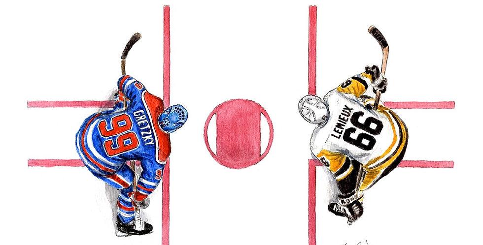 Gretzky vs Lemieux Faceoff - Print