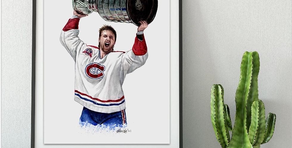 Patrick Roy with the 1993 Stanley Cup - Print