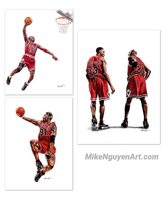 Chicago Bulls Set - 3 Prints