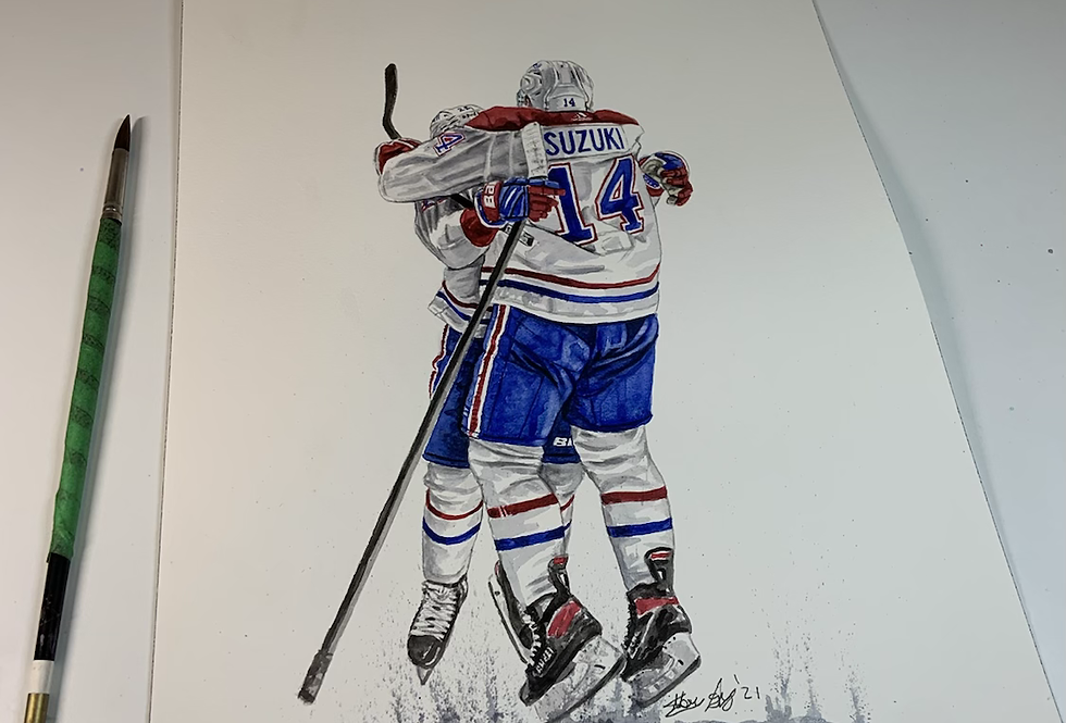Nick Suzuki, 2021 Playoff Goal Celebration with Cole Caufield - Print