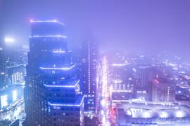 2019 Downtown in Cool Purple Fog Gradient
