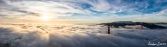 2019 Golden Gate Bridge Sunset Fog Panorama