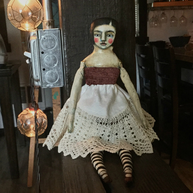 Doily Girl Handmade Cloth and Clay Doll