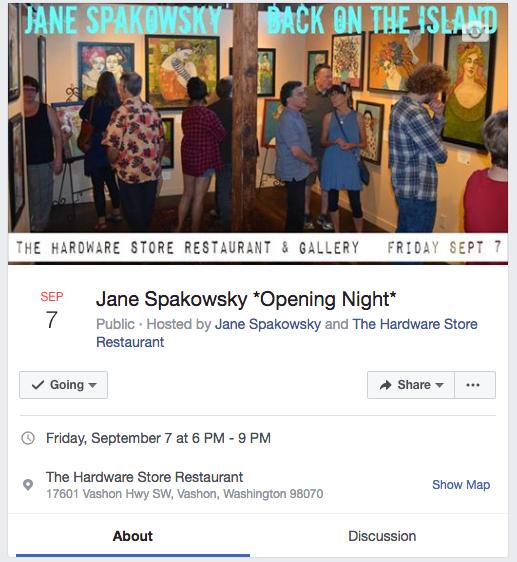 Join me Opening Night on Vashon Island