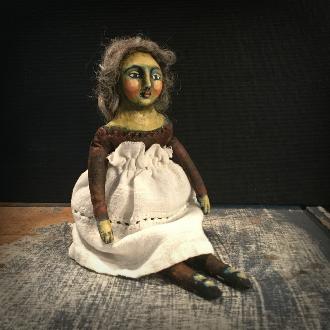 Handmade Primitive Cloth and Clay Art Doll