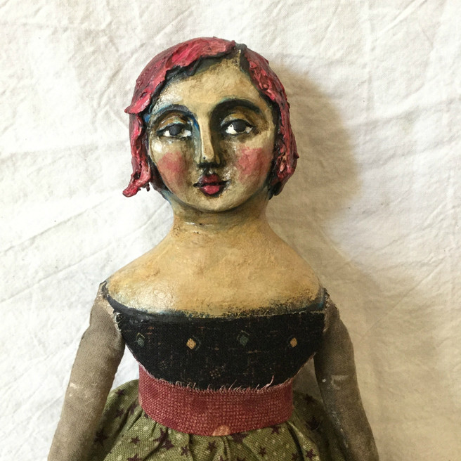 One Of A Kind Cloth and Clay Art Doll