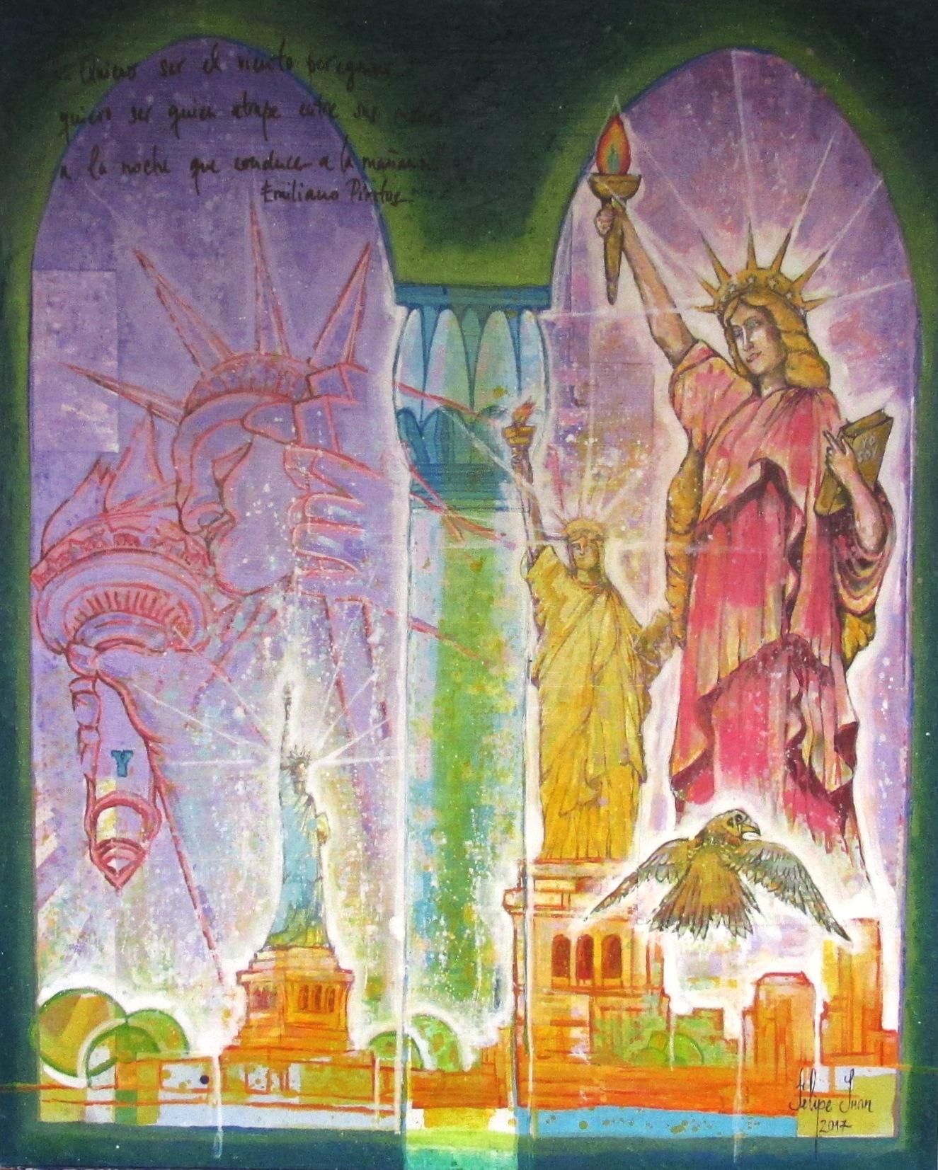 Estatua de la Libertad.80x100. Mixta sobre madera