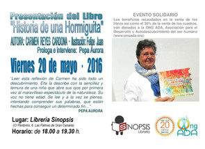 """Participación en Libro Infantil: """"Historia de una Hormiguita"""" de Carmen Reyes · 20 de mayo"""