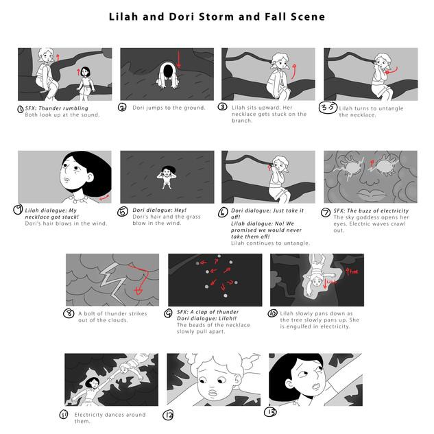 Lilah And Dori Storm Scene Storyboard