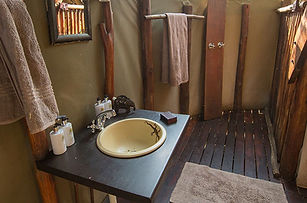Horse riding safari Botswana camp bathroom