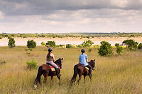 Two riders and their horses on a trail ride in Mozambique.