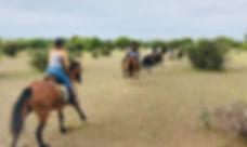 Horseriding safari Botswana galloping through the scrub