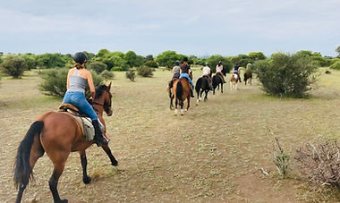 Horseriding safari Botswana galloping through the scrub