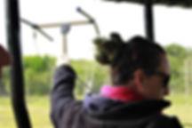 Girl holding radio transmitter