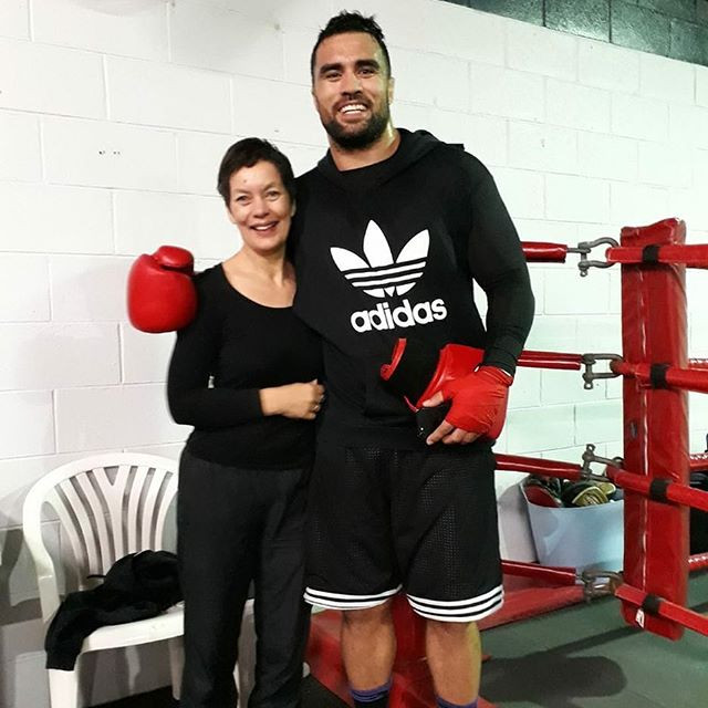 Co-owner Robyn Pengelly with Liam Messam