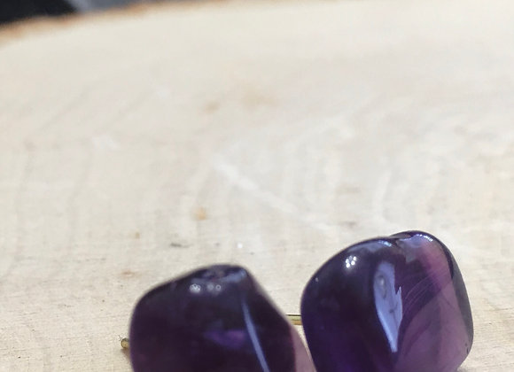 Amethyst Earring Studs Hand-Made