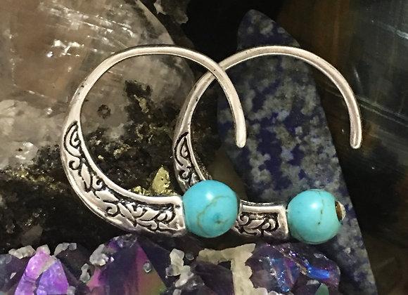 Sterling Silver Turquoise Tibetan Hoops