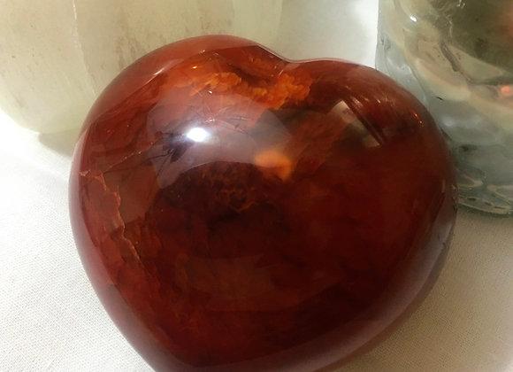 Large Solid Carnelian Heart Crystal