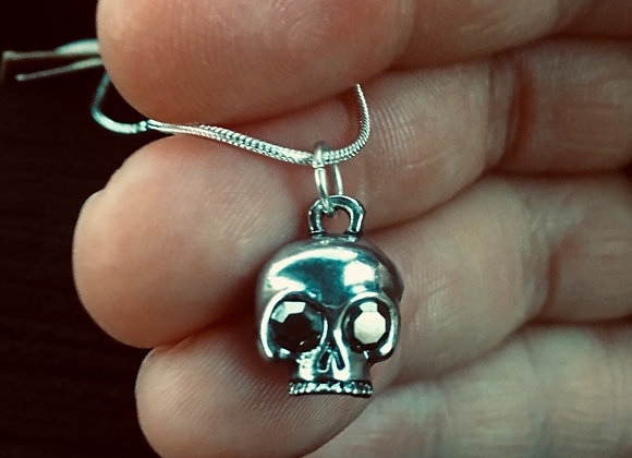 "Silver Skull 20"" Necklace"