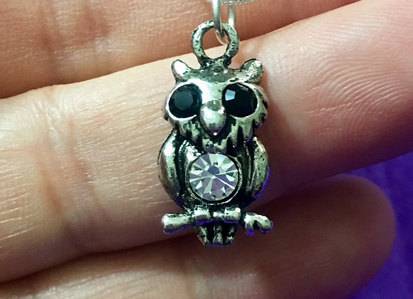 """Owl Sterling Silver Necklace 18"""""""