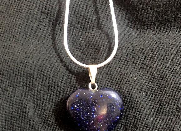 Blue Goldstone Heart Necklace