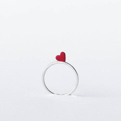 Anel Dois Amor - Coração Vermelho