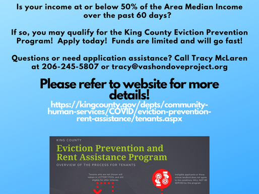 The DOVE Project partners with King County to provide outreach assistance to prevent homelessness.