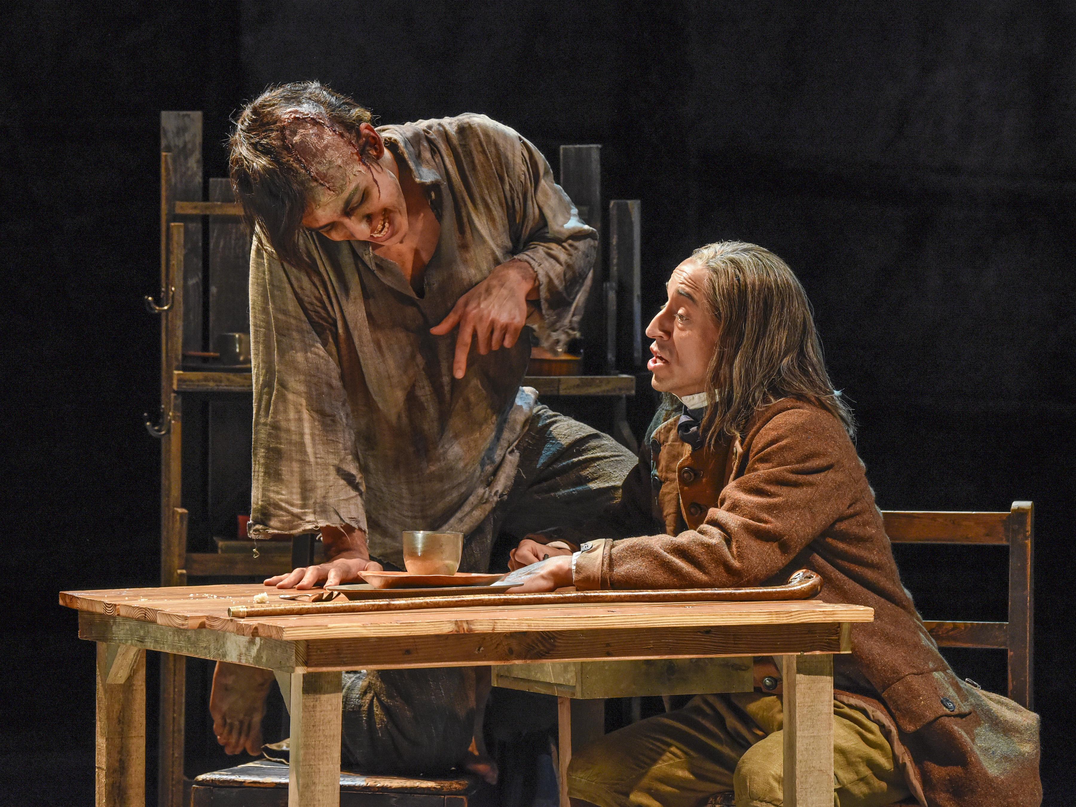 Kim Fischer and Blake Hackler in DTC's Frankenstein - Photo by Karen Almond