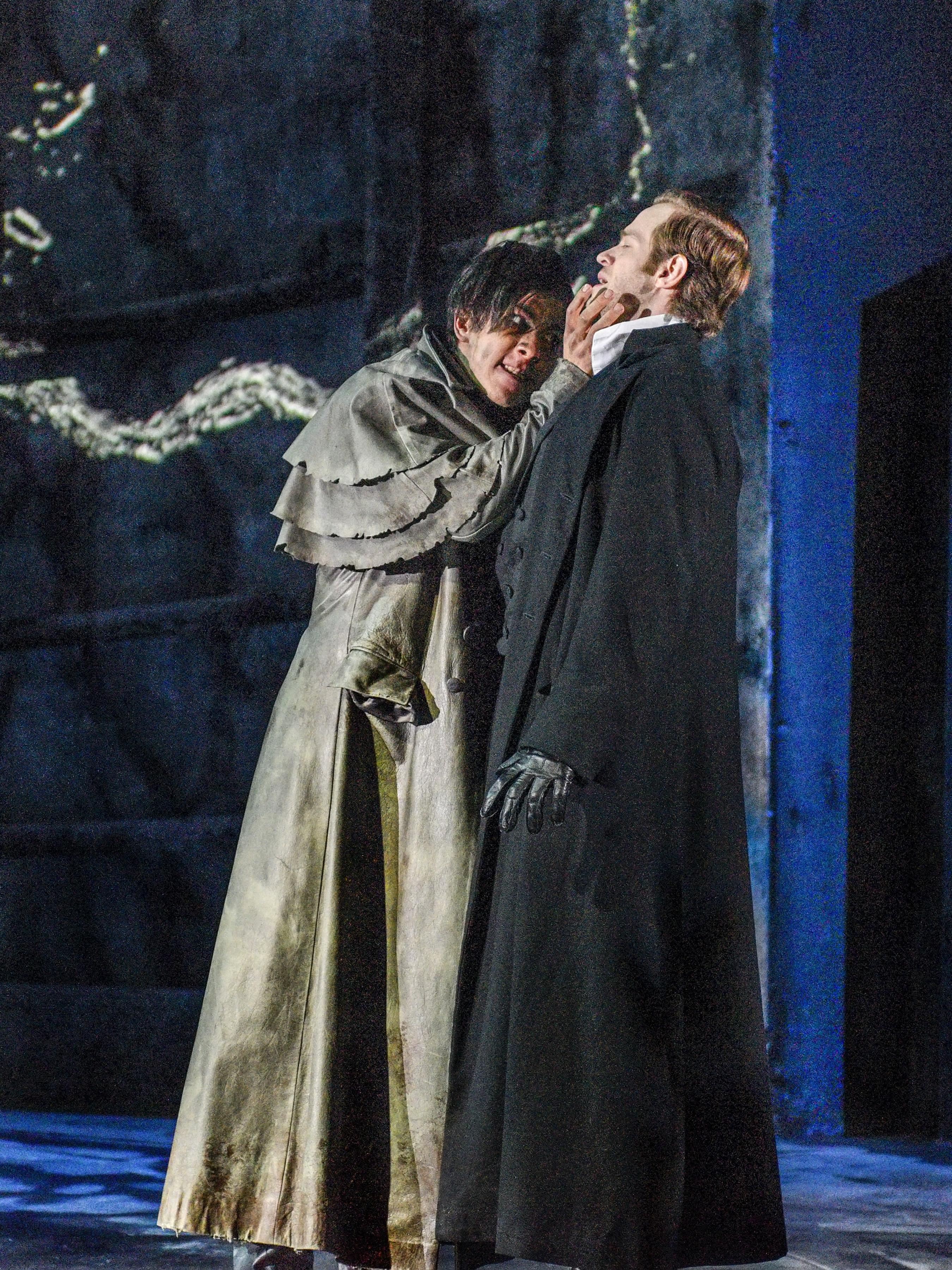 Kim Fischer as The Creature and Alex Organ as Dr. Frankenstein - Photo by Karen Almond