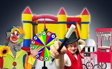 Im Bild Clown für Kindergeburtstag und Kinderzauberer in der Schweiz mit Hüpfburg, Zuckerwattemaschine, Glücksrad und Popcornmaschine zum mieten