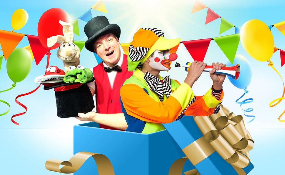Im Bild: Clown und Zauberer für Kindergeburtstag zum mieten