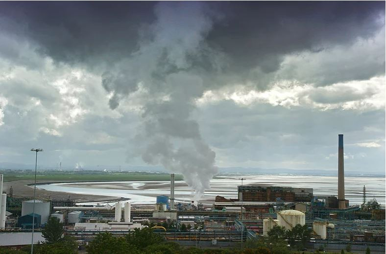 Pollution from a factory and port