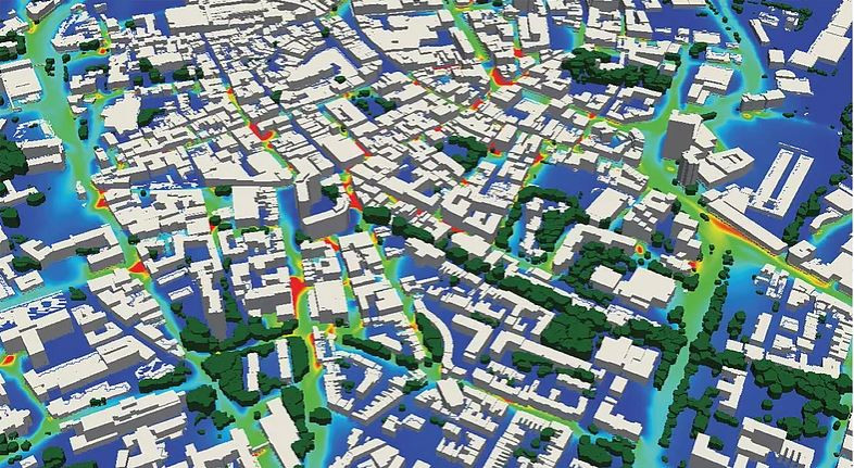 Photo showing computational fluid dynamics of a city modelling by EarthSense