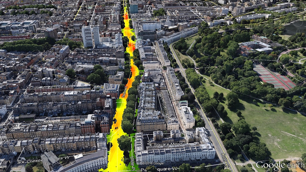 Modelled data of air pollution using computational fluid dynamics by EarthSense
