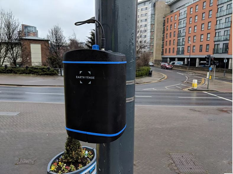 the Zephyr® air quality sensor fixed to a lamp post in Leeds City Centre