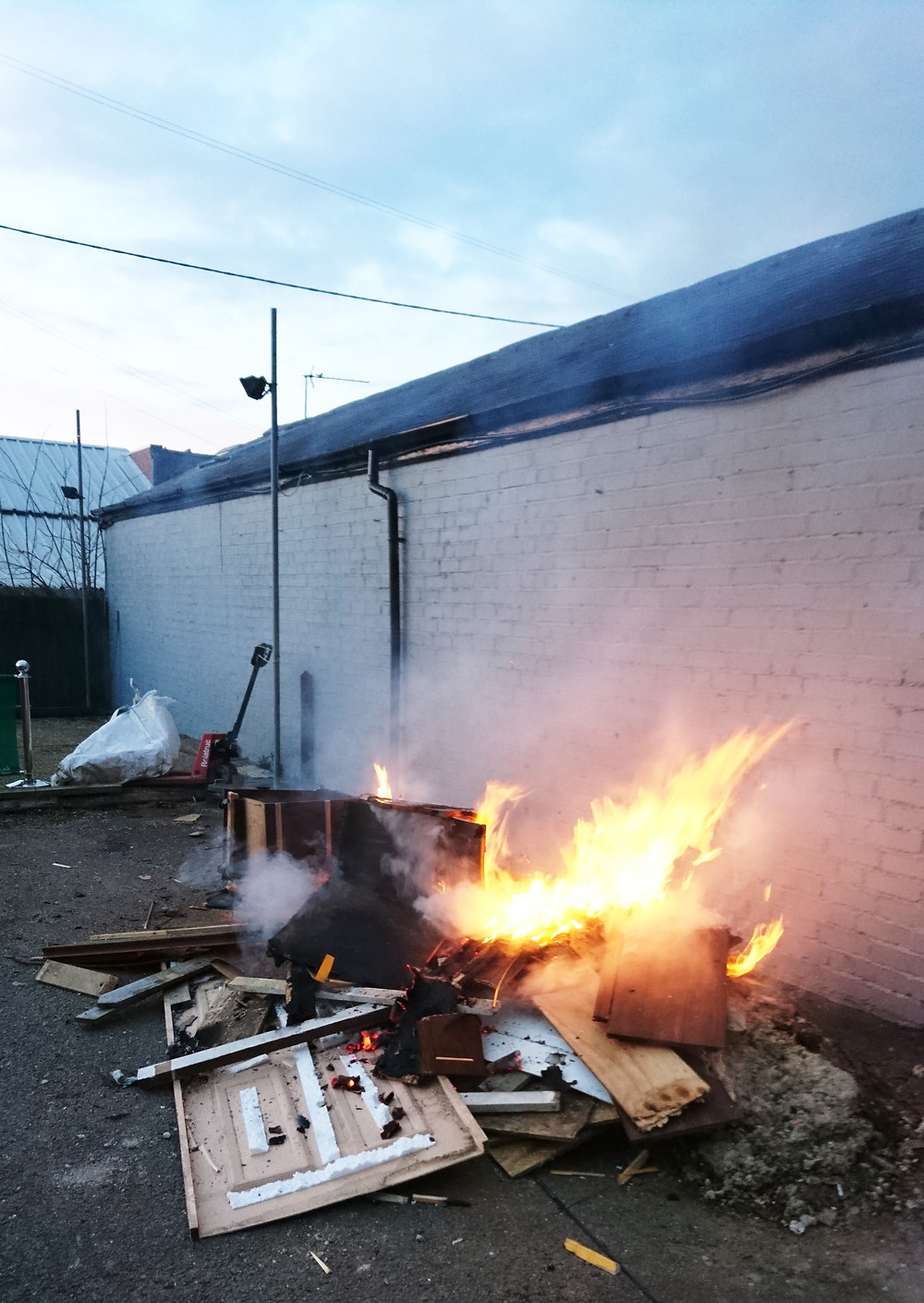 Burning waste from fly-tipping