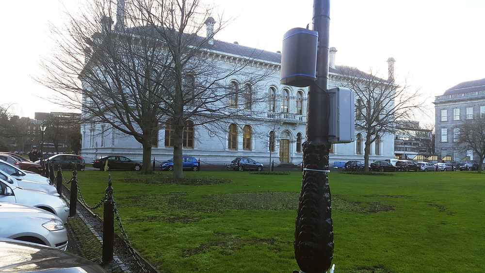 Zephyr Air Quality Sensor on Lamp Post in Dublin City Centre