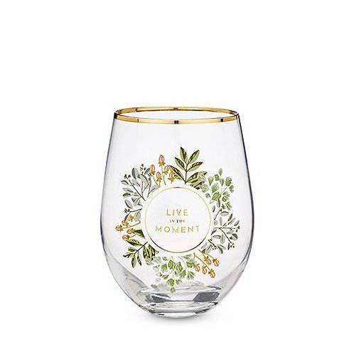 Live in the Moment Stemless Wine Glass
