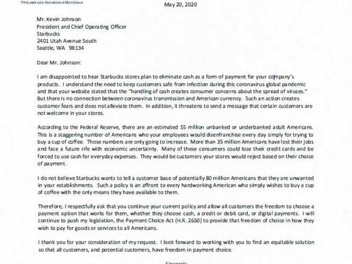 Congressional Representative Addresses Starbucks Plan to Eliminate Cash Payment