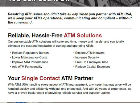 Partnership You Can Count On - ATM USA Solutions for Banking
