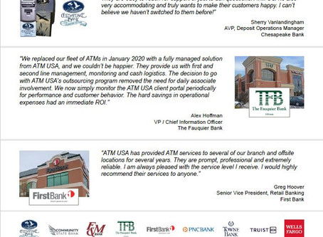 What our Banking Partners are Saying about ATM USA