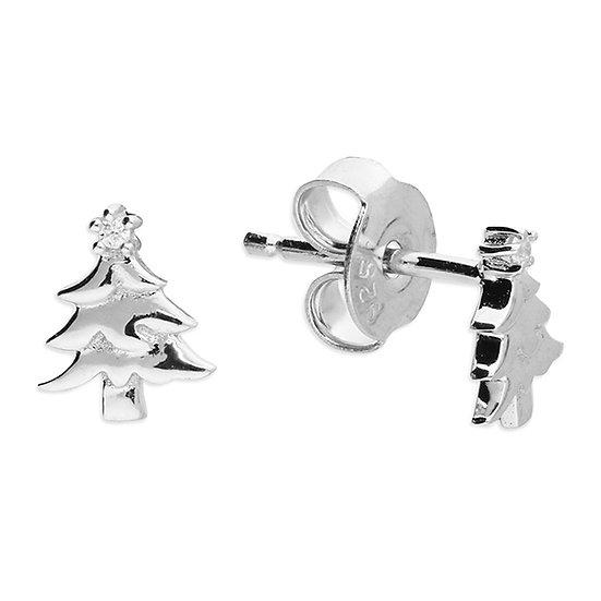 925 Silver  Christmas Tree with CZ Stud stud