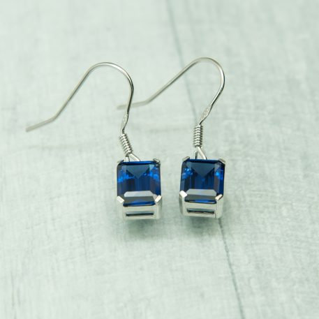 Siberian Tanzanite Quartz Emerald Cut Drops set in 925 Silver