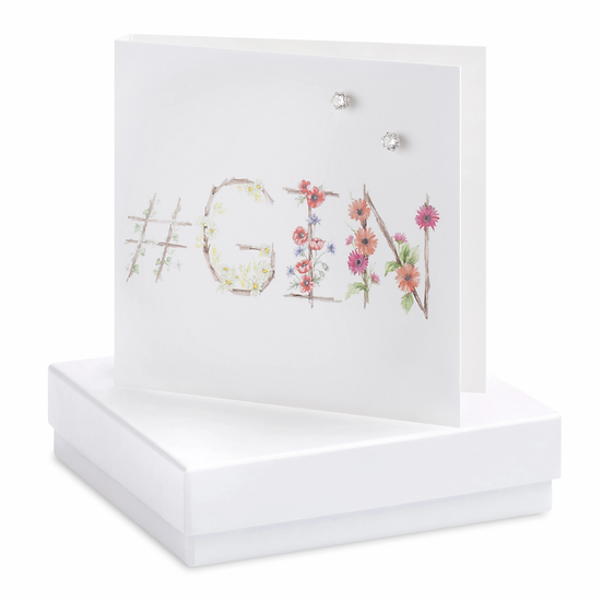 Boxed Gin Earring Card with CZ